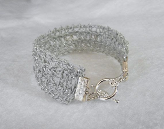 Bracelet, Tunisian Crocheted, Cotton Metallic, Toggle Bar Closure