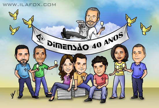 Caricatura colorida, grupo de pessoas, aniversário Jornal Dimensão, Itapetinga, Bahia