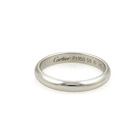 Cartier Platinum 3.5mm Plain Dome Wedding Band Size Eu 59