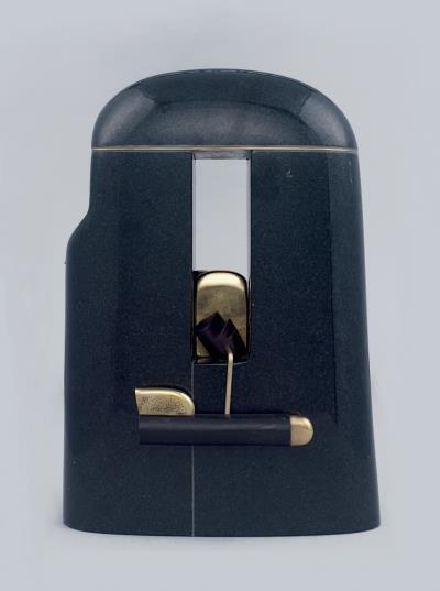 神秘西非 20x12x30.5 黑花崗,黃銅,烏心木,瑪瑙,925 銀2014