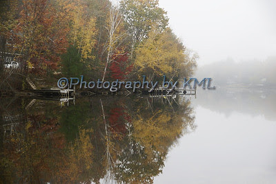 foggy autumn morning at the lake