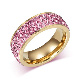 8mm Gold Titanium Steel CZ Ring Women's Engagement Band