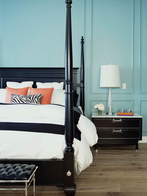 Turquoise and Black Bedroom - Contemporary - bedroom