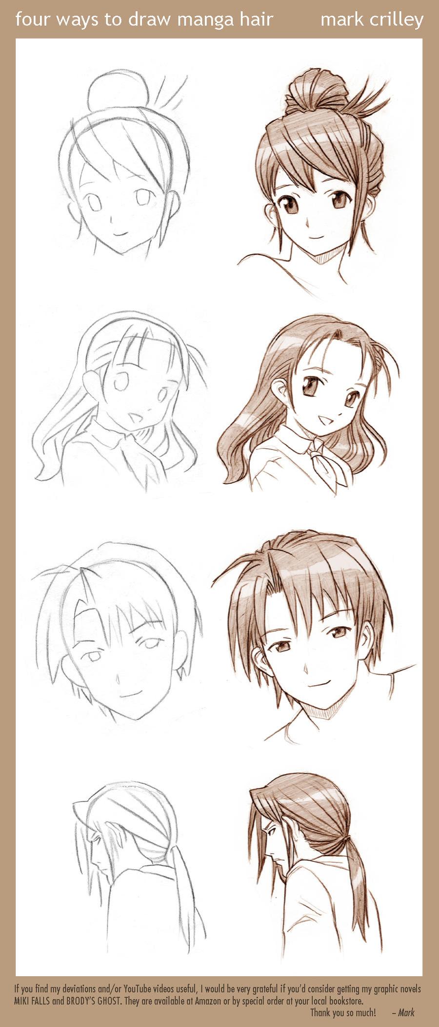 4 Ways to Draw Manga Hair | How To Draw Manga