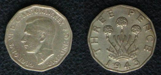 1943 threepence coin