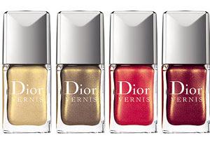 Esmaltes Or Divin 221, Exquis 611, Merveille 651 e Apparat 871, todos da Dior