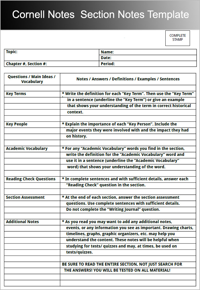 Cornell Notes Section Notes Template