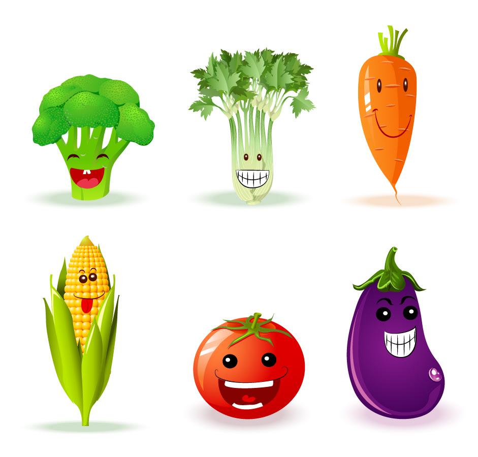素材 可愛い表情を見せる野菜のクリップアート Funny Veggies イラスト素材