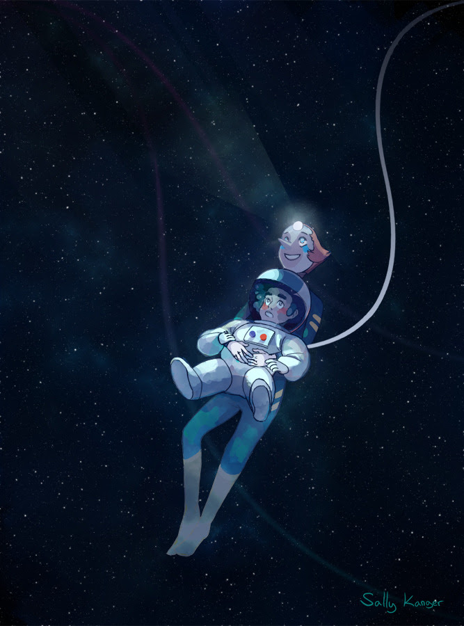 "I finally got to watch steven universe some time ago! I loved it, especially the episode ""space race"". I wanted to draw Pearl getting to show Steven the wonders of the cosmos."