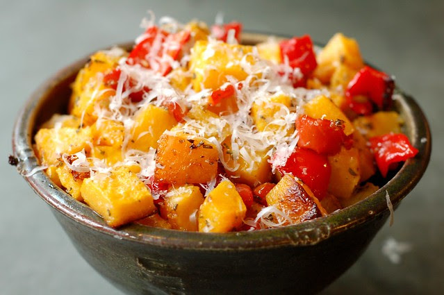 Roasted Butternut Squash & Red Peppers With Rosemary & Parmesan by Eve Fox, Garden of Eating blog, copyright 2011