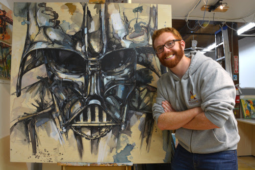 "A picture of me with my recently finished ""Darth"" that I am really pleased with. I am excited to get this hung up. Upvote on Imgur if you enjoy it :)"