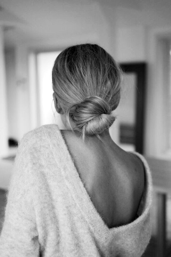 Le Fashion Blog Polished Low Bun Hairstyle Open V Back Sweater Sexy Feminine Fall Style Via Camilla Pihl