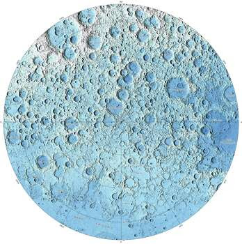 This image is part of a new series of high resolution images of the moon provided by the U.S. Geological Survey. This map of the moon's north polar region is based on data from the Lunar Orbiter Laser Altimeter. Photo: U.S. Geological Survey