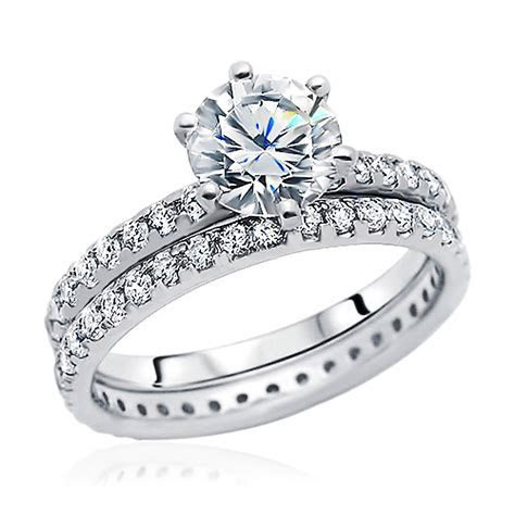 Women 8mm Rhodium Plated Sterling Silver Ring CZ