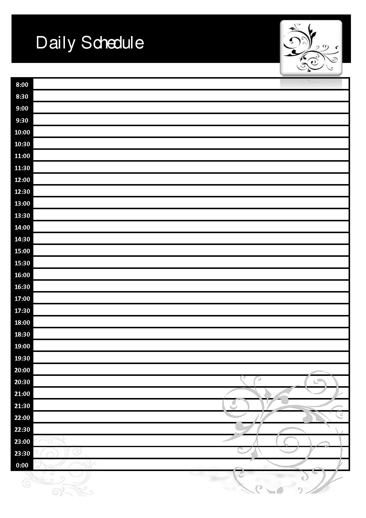 Daily Schedule Blank | Daily Agenda Calendar