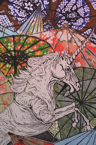 Unicorn amongst umbrellas III detail