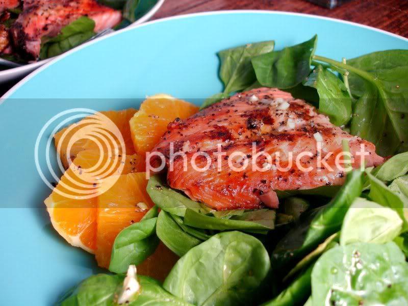 Citrus Salmon Spinach Salad
