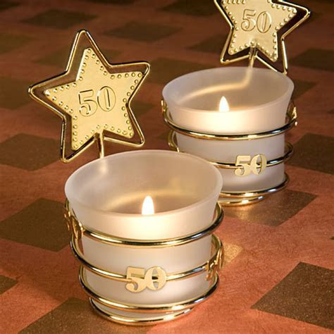 Golden Anniversary Party Favor Candle, Favors for 50th
