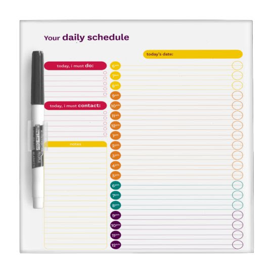 Your Daily Schedule Dry Erase Board | Zazzle