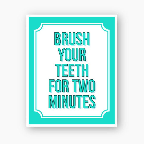 House Rules For Children - Brush Your Teeth For Two Minutes - 8x10 Custom Art Print in Blue and White Choose Your Colors