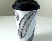 Ceramic Travel Mug Hand Painted Feathers Black and White Modern Eco Friendly Nature - sewZinski