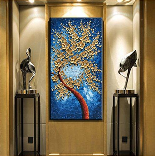 Large Original Oil Painting Vertical Gold Flower Canvas Art Decor Hous Asdamart