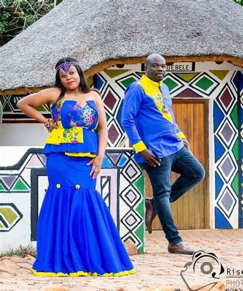 Couple In Blue Tsonga Inspired Traditional Wedding Outfit