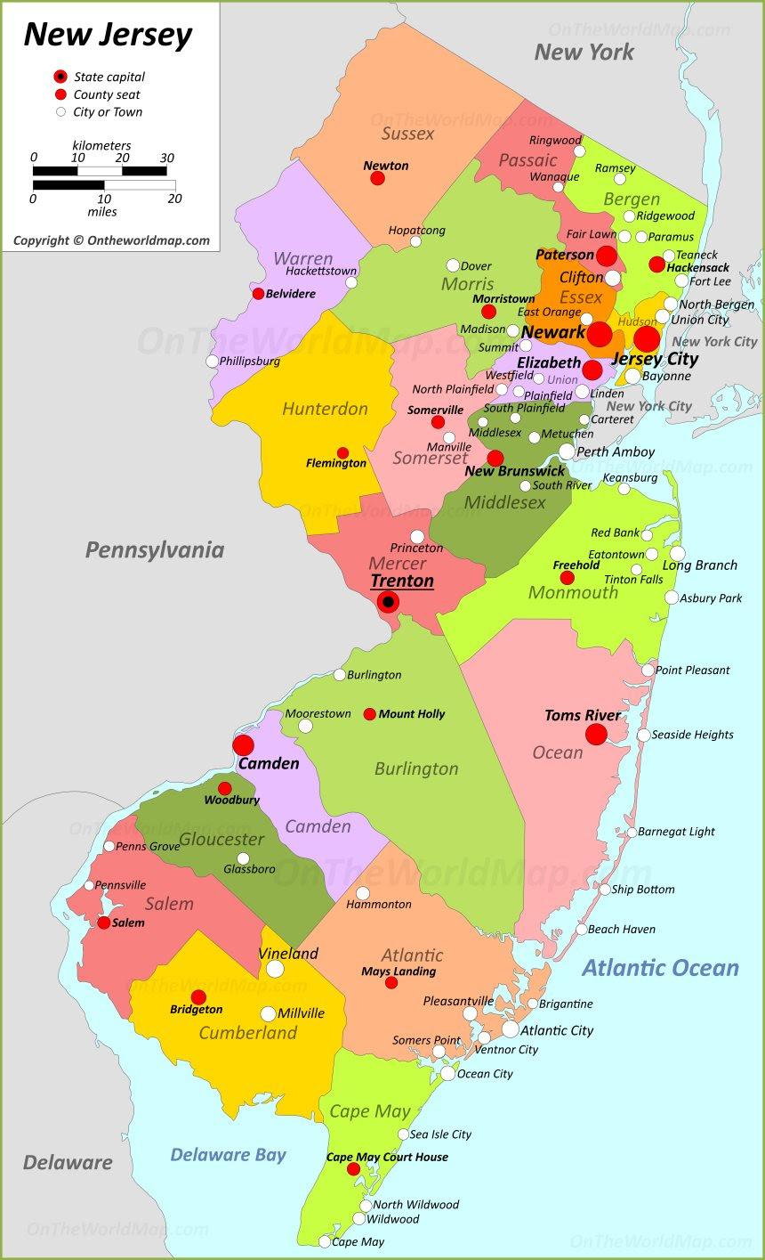 New Jersey State Maps Usa Maps Of New Jersey Nj