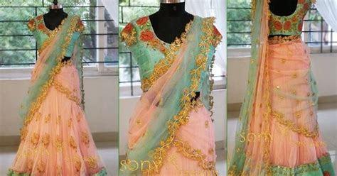 Peach and Pastel Half Saree   Saree Blouse Patterns
