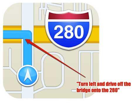 """كاريكاتير: """"منعطف الى اليسار، اقفز من فوق الجسر وانطلق في شارع 280..."""""""