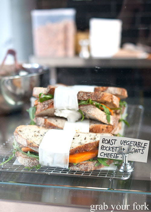 roast vegetable goats cheese sandwich at stables cafe surry hills