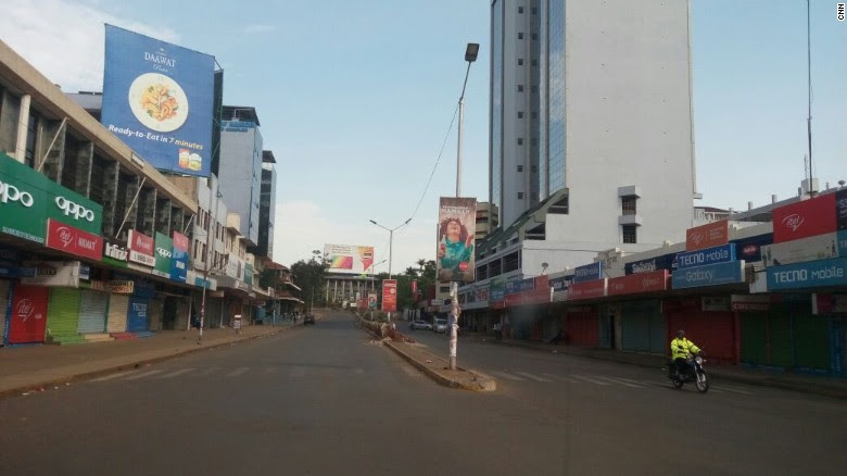 "Kisumu's main street ""Oginga Odinga street,"" named for Raila's father who acted as the country's first vice president, was largely deserted on Friday."