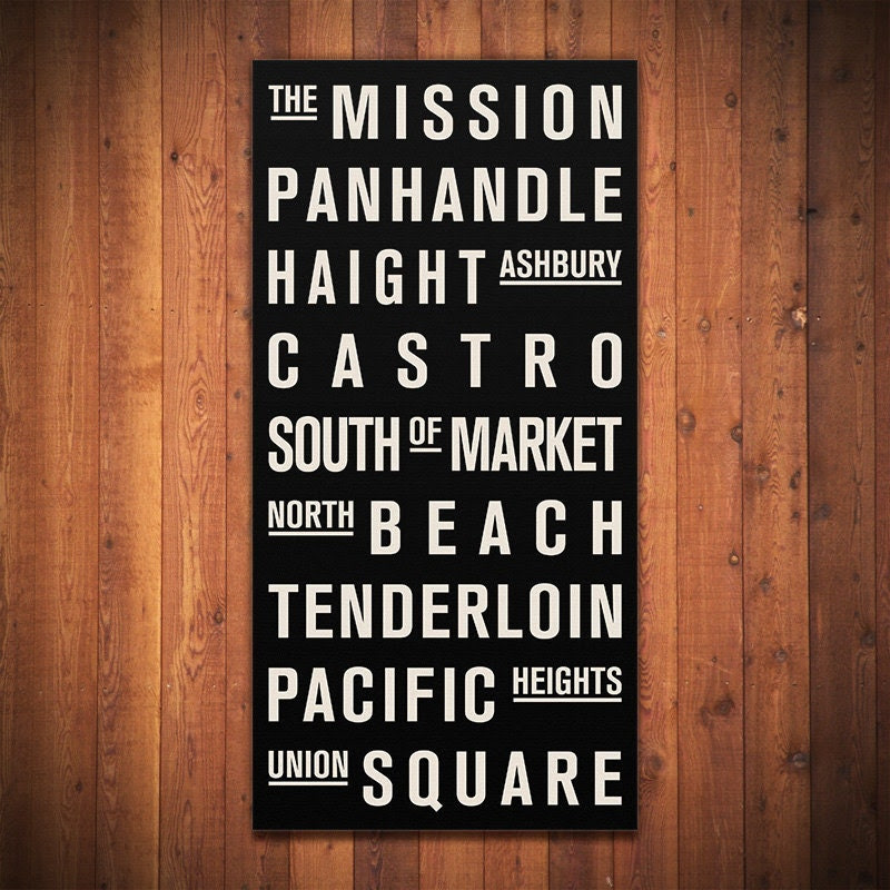"SAN FRANCISCO Subway Sign. Bus Scroll. Destination List - Canvas 24"" x 48"""