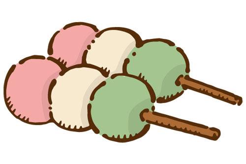 無料素材 綺麗な3色団子のイラスト和菓子やお花見のデザインに