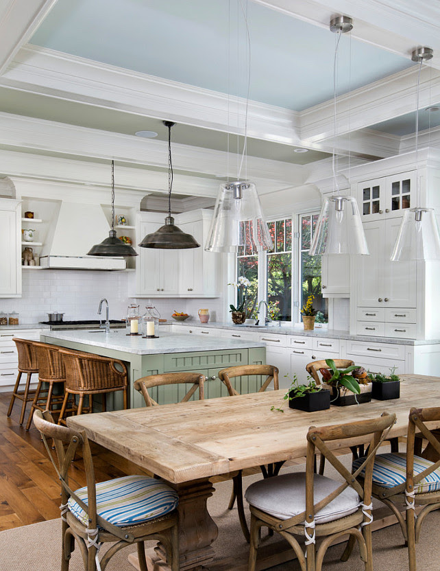 Kitchen. Transitional kitchen with painted island and blue ceiling. Kitchen with farmhouse table. #Kitchen #TransitionalKitchen  Markay Johnson Construction