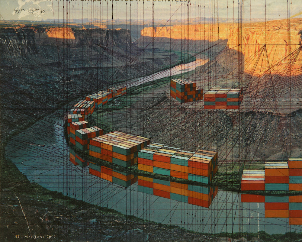 Grand Canyon, 8 x 10 inches, collage on panel, 2010, Iverson