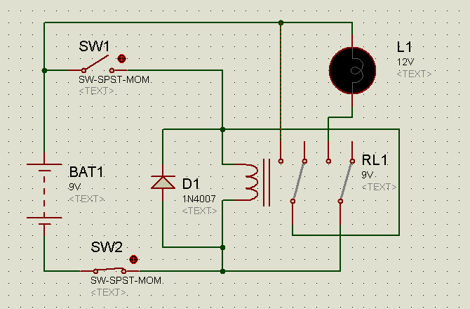 Circuit diagram of Relay latching