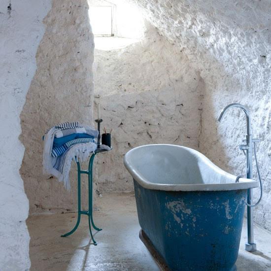 Mediterranean stone bathroom | Stone wall | Bathroom idea | Coastal living | Image | Housetohome