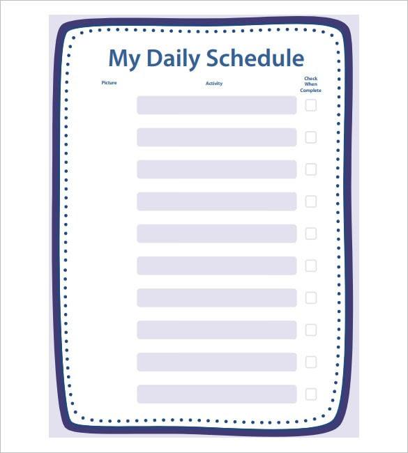 Daily Schedule Pdf | Daily Agenda Calendar