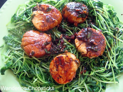 Scallops and Pea Shoots 2