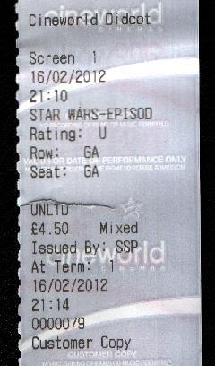 Phantom Menace 3D ticket