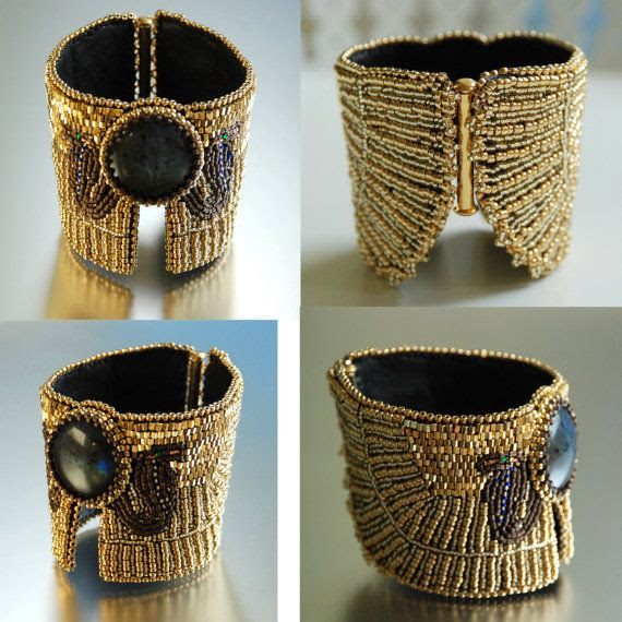 Egyptian Jewelry, Ancient Egyptian, Cuff Bracelet, Bead Embroidered, Beads Bracelet $270