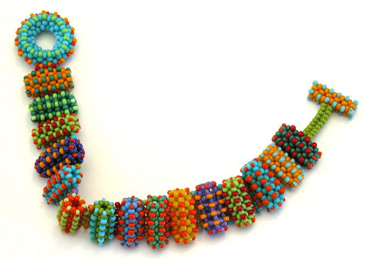Nita Kaufman – Right-angle weave with embellishment.