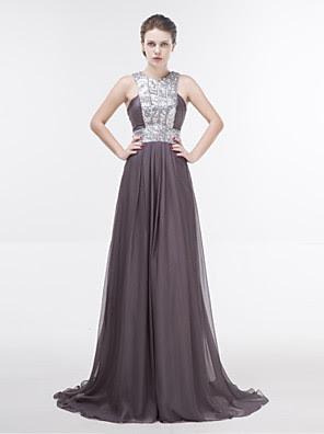 Sheath Floor-Length Off-The-Shoulder Chiffon Crystal Detailing Dress