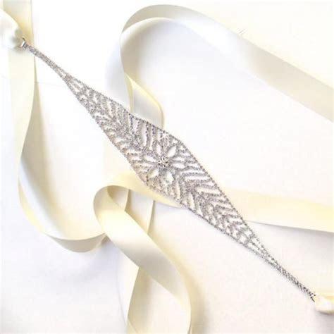 Snazzy Silver Rhinestones Bridal Belt Sash   White Ivory