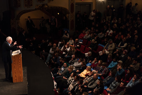 Senator Bernie Sanders at the Palace Theater in Manchester, N.H., on Monday.