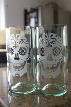 Sugar Skull Glass Set by Windcatcher on Etsy