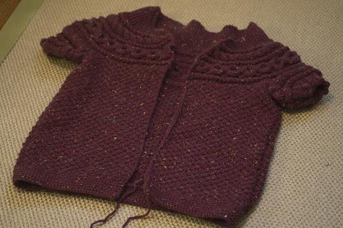 Helleborus Yoke sweater in progress