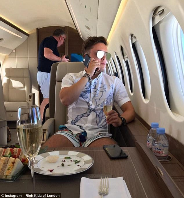 One London Rich Kid who calls himself 'the Notorious Dave Sullivan' posted this snap of him enjoying a glass of bubbly from 35,000 feet in the air