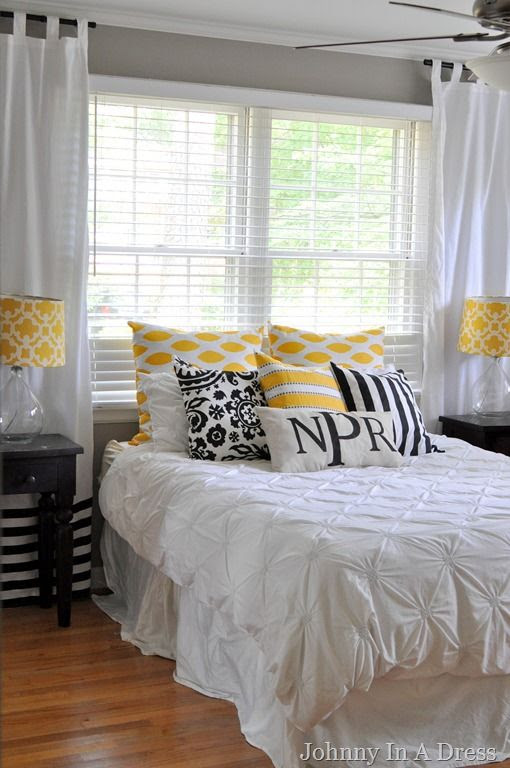 Yellow, Gray, White bedroom